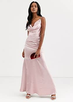 cowl neck with strappy back satin maxi dress-Pink
