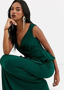 cross over peplum maxi dress-Green