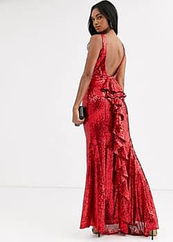 halterneck maxi fishtail sequin dress-Red