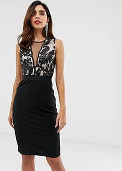 pencil midi dress with sequin detail-Black