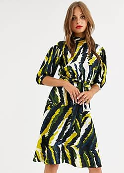 Closet high neck skater dress in abstract print-Multi