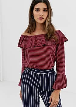 Closet Closet Ruffle Neck Off-the -Shoulder Blouse-Multi