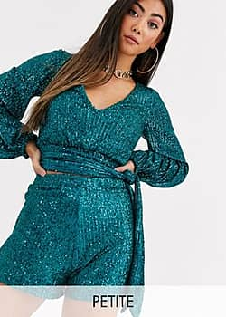sequin wrap front top with tie detail co-ord in green