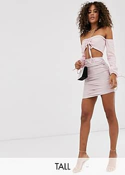 Club L vinyl ruched mini skirt in pink-Black