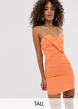 Club L wrapover tailored mini dress with boning in orange