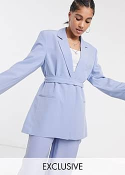 Collusion blazer with tie waist in pastel lilac-Purple
