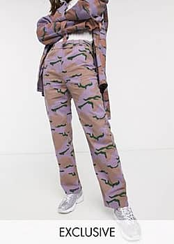 Collusion cargo trousers in camo-Purple