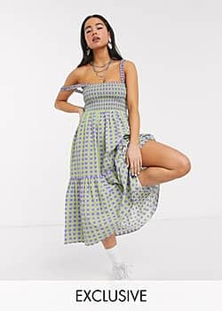 Collusion gingham tiered midi dress-Multi