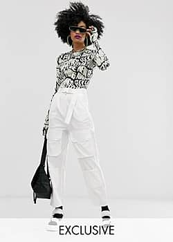 Collusion high waisted pocket trousers-White