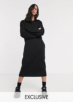 Collusion maxi hoodie dress in black
