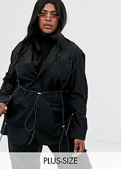Collusion Plus blazer with toggle detail-Black