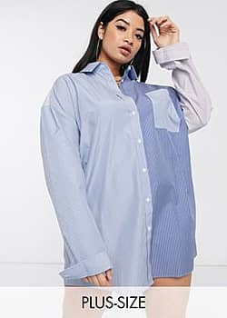Collusion Plus exclusive cotton stripe shirt dress-Multi