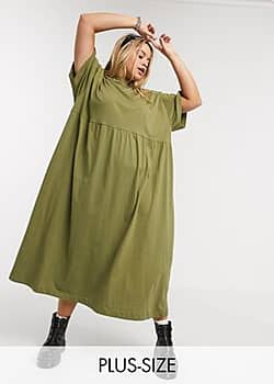 Collusion Plus jersey smock maxi dress in khaki-Green