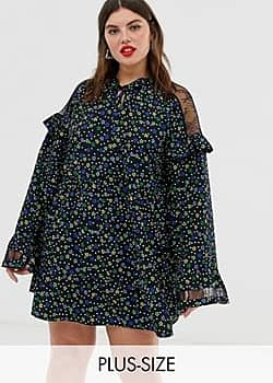 Collusion Plus lace insert smock dress in ditsy floral-Multi