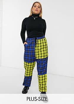 Collusion Plus mixed check trouser-Multi