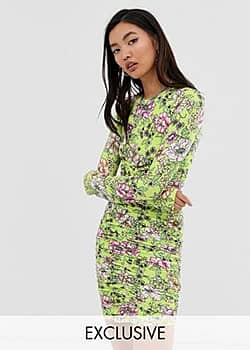 Collusion ruched floral jersey bodycon dress-Multi
