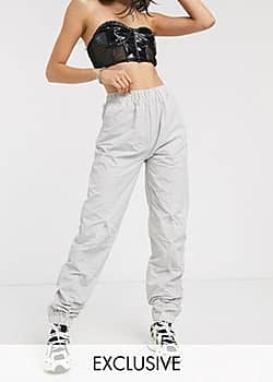 Collusion ruched front nylon trousers-Grey