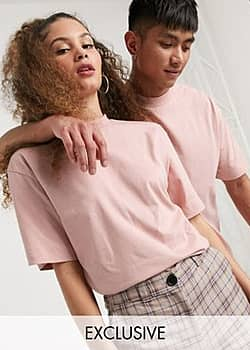 Collusion Unisex t-shirt in light pink