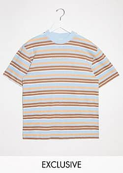 Collusion Unisex t-shirt in stripe-Multi