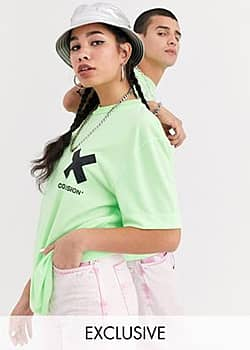 Collusion Unisex t-shirt in washed neon green