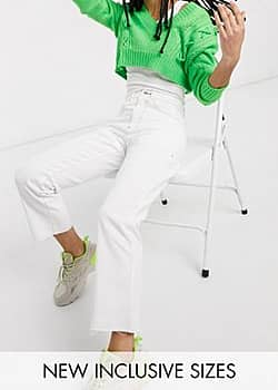 Collusion x005 cropped straight leg jeans in white