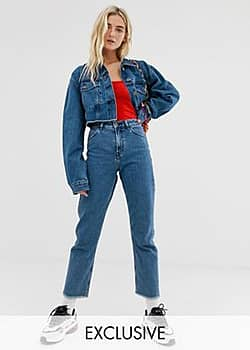 Collusion x005 straight leg jeans in mid wash blue