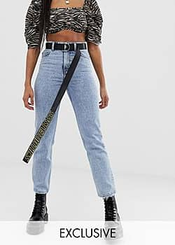 Collusion x005 straight leg jeans in vintage wash-Blue