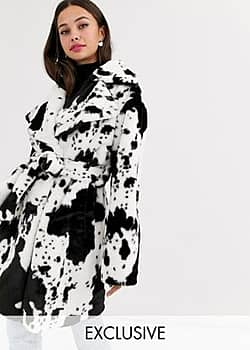 belted coat in cow print faux fur-Black