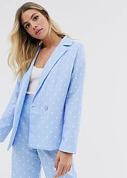 double breasted blazer in star print co-ord-Blue