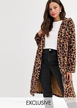 longline coat with zip front and hood in leopard print faux fur-Brown