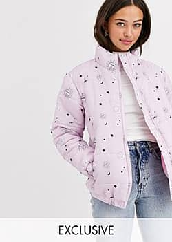 padded jacket in astrology print-Purple