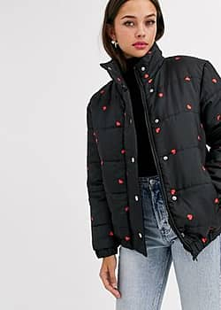 padded jacket in ditsy heart print-Black