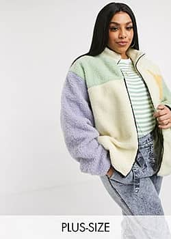 Daisy Street high neck jacket in colour block teddy fleece-Multi