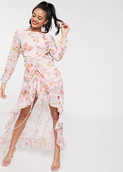 high low maxi dress with cut out back in blush print
