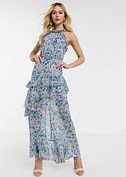 high neck maxi dress in blue floral