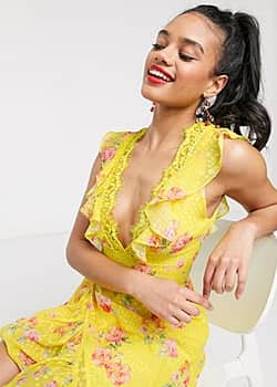 plunge front maxi dress with frill in floral print-Multi