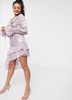 plunge front mini dress with frill in lilac-Purple