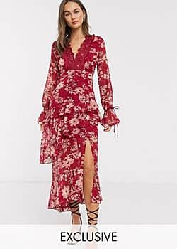 Dark Pink plunge ruffle maxi dress with lace insert in red jacquard floral
