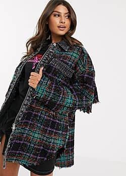 check knitted jacket with padding-Multi