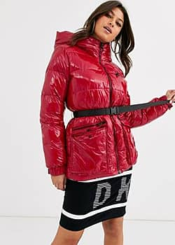 sport high shine padded jacket with belt detail and hood-Red