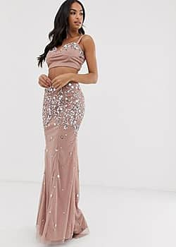 Dolly & Delicious embellished prom maxi skirt co-ord in champagne-Pink