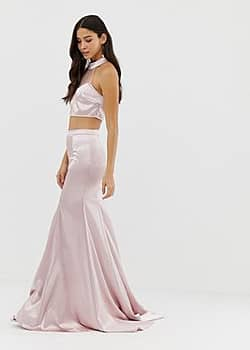 Dolly & Delicious full satin maxi skirt co-ord in pink