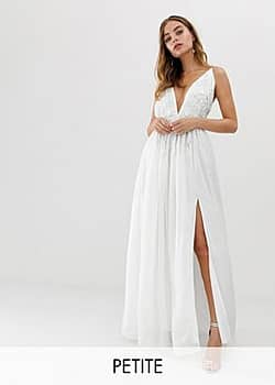Dolly & Delicious 3D applique embellished plunge front maxi dress with thigh split in white