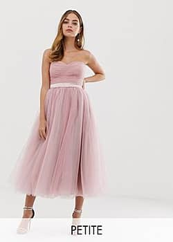 Dolly & Delicious bandeau full prom midaxi dress in pink