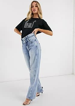 Pepe Jeans Dua Lipa x high rise straight leg jean with double waistband detail in light wash-Blue