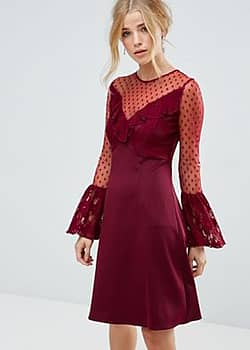 A Line Mini Dress With Lace Frill & Fluted Long Sleeve-Red