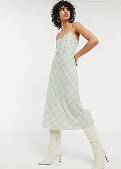 Emory Park cami dress in summer check-Green
