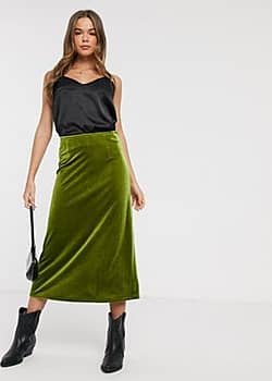 Emory Park midi skirt in velvet-Green