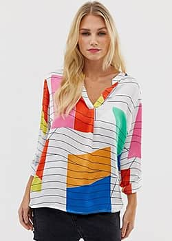abstract print blouse in white-Multi