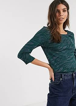abstract zebra print top with sleeves in green-Navy